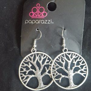 Paparazzi Silver Tree of Life Earrings